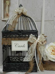 Birdcage Wedding Card Holder / Card Box / Wedding Cardholder / Rustic Wedding decoration / Wedding Decor by TheLaceMoon on Etsy https://www.etsy.com/listing/155100906/birdcage-wedding-card-holder-card-box