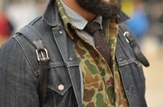 How to wear Camouflage is a post by menswear style with tips, outfit building ideas and a quick look at the history of camo. Camouflage, Camo Denim Jacket, Denim Man, Denim Jackets, Suit Jacket, Camo Suit, Converse, Guy, Mens Trends
