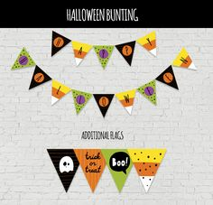 Festive Free Printable Halloween Bunting. Print out this cute banner to get kids excited about Halloween!