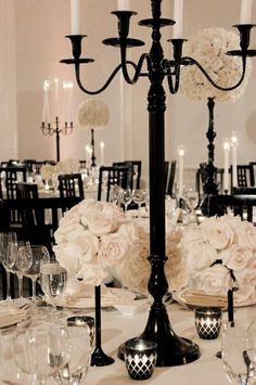 Black and White Halloween Wedding Table Settings