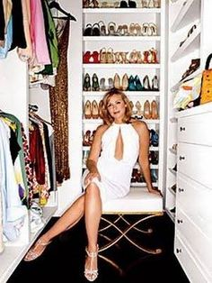 Kim Cattrall's Walk In Closet. Ummm, that's a Closet? Not for me son.