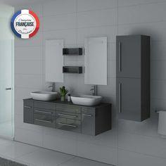 Ensemble double vasque plein de rangements astucieux. Son coloris gris taupe brillant est très moderne Locker Storage, Cabinet, Bathroom, Gris Taupe, Furniture, Home Decor, Actuel, Parents, Products