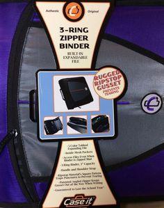 "Case It D 146 3 Ring 3""Binder Purple Folders Hand Shoulder Strap Zip Close New | eBay"