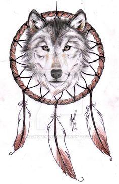 Wolf Dreamcatcher II tattoo design by RozThompsonArt.deviantart.com on @DeviantArt