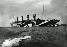 RMS Olympic during the war in her Razzle Dazzle disguise paint.