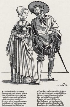 """That unusual sleeve again. 1530 Hans Sebald Beham - Despite the fact that this is labeled as a """"landsknecht woodcut"""" I'm not sure if these are landsknecht or burghers. (A young gentleman and his wife? Renaissance Fashion, Renaissance Clothing, Renaissance Art, Historical Clothing, 16th Century Clothing, 16th Century Fashion, 14th Century, German Costume, German Outfit"""