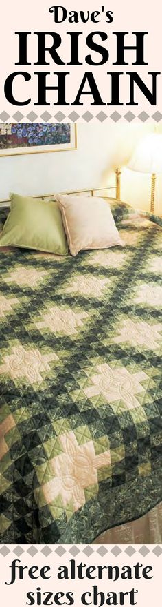 A Fons family friend, David Garry was the inspiration for this classic Irish Chain quilt. Dave's Irish Chain was a group effort, designed by Hannah Fons, Marianne Fons, and Brian Ormsbee. Machine quilter Dawn Cavanaugh stitched Celtic Knots to carry out the Irish theme. This quilt can be easily adjusted for size using the free alternate sizes chart!