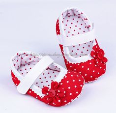 Red Mary Jane Infant Baby Girl Polka Dot Soft Sole Shoes Newborn to 18 Months #MaryJanes