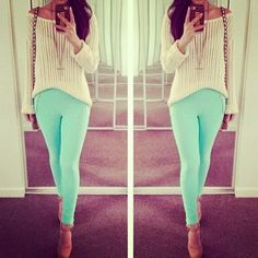 ♥♥ mint pants summer look spring outfits Teen fashion Cute Dress! Clothes Casual Outift for • teens • movies • girls • women •. summer • fal...