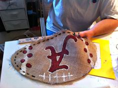 How to Make Burlap Bag | made 3 Alabama footballs and 1 LSU football (for my MOM because I ...