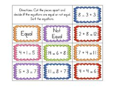 Equal/Not Equal Equation Sorts - Addition/Subtraction