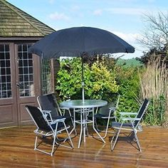 6 Piece Garden Furniture Patio Set Inc Chairs Table and Umbrella outdoor indo Metal Outdoor Chairs, Metal Patio Furniture, Garden Furniture Sets, Patio Chairs, Outdoor Decor, Patio Tables, Patio Sets, Patio Dining, Dining Set