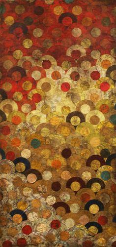 Tegan Marie Brozyna ~ Juxtaposed, 2011 (paper, gel medium and oil bar on canvas)