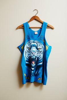 1990s Sleeveless White Tiger Blue Men's Tank Top by Studio 2000