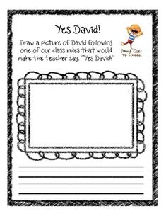 David Goes to School Printables   David Goes to School Yes David Rules Activity