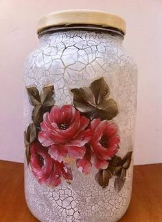 1 million+ Stunning Free Images to Use Anywhere Recycled Glass Bottles, Glass Bottle Crafts, Bottle Art, Bottles And Jars, Glass Jars, Decoupage Jars, Pottery Painting Designs, Bottle Painting, Painting Canvas