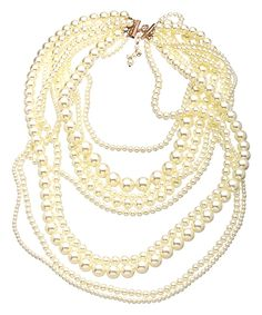 The beauty of rose gold is perfectly complemented by pearls, in this rose gold and pearl nine strand necklace. An abundance ofpearl strands - featuring pearls that range in size from tiny to large -guarantee you'll be receiving many compliments whenev $180.00 by janine