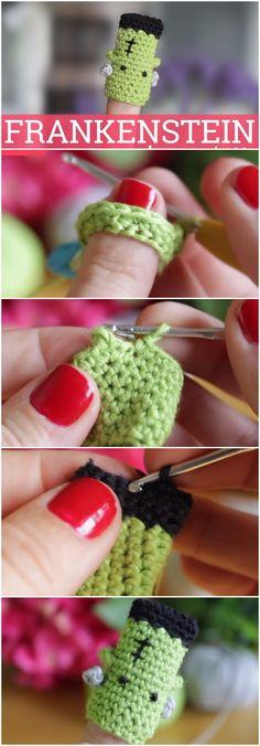Learn To Crochet Frankenstein Finger Puppet