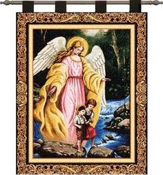 "Watching Over You Children & Angel Tapestry Wall Hanging 24"" x 36""  #Christmas #Angel #Art #Decor #Home #Decorations #BeddingNMore"