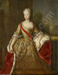 Porträtbildnis der Prinzessin Sophie, Markgräfin von Brandenburg-Schwedt, geb. Prinzessin von Preußen (1719-1765) und Schwester Friedrich d. Gr. mit dem Orden des Herforder Damenstiftes um 1731 sold by Van Ham Kunstauktionen, Köln, on Friday, May 13, 2016