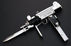 Nickel plated mini uzi with bayonet Weapons Guns, Guns And Ammo, Glock Guns, Rifles, Survival, Submachine Gun, Grenade, Home Defense, Assault Rifle