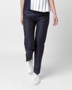 Mohawk - Le Pantalon Ourlet in Navy Striped - http://www.mohawkgeneralstore.com/products/le-pantalon-ourlet-in-navy-striped