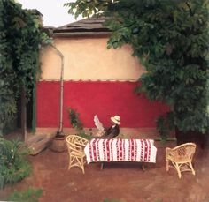 Red Wall by Karoly Ferenczy 1862 1917 Date: 1910 Style: Impressionism August Sander, Albert Bierstadt, Fresco, Charles Angrand, Art Nouveau, Web Gallery Of Art, Victor Vasarely, Outdoor Sofa, Outdoor Decor