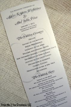 Classic Penmanship Wedding Programs | Wedding programs wording ...