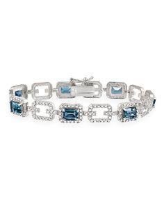 London Blue Topaz, Diamond & Sterling Silver Shimmer Bracelet
