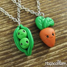 Tiny Peas and Carrot Best Friend Necklace Set. $27.00, via Etsy.