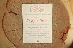Cute Orange and Purple Wedding Invitations   http://brideandbreakfast.ph/2012/07/30/fusions-and-forevers/   Photographer: MangoRed