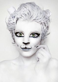 White Kitty Cat Body Paint - Natasha Kudashkina