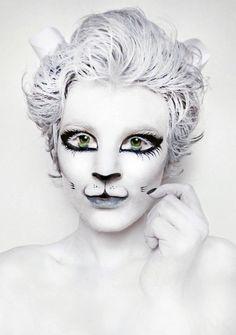 White Kitty Cat Body Paint - Natasha Kudashkina
