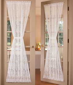 Country Floral Lace Door Panel comes in natural and white (tiebacks sold seperately) from country curtains