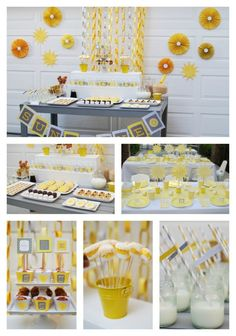You Are My Sunshine-Breakfast Birthday Party — I love this idea -- could incorporate a vibrant blue palate as well (and would bring in a sunshine-y sky feeling!)