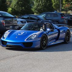 Porsche 918 Spider painted in Sapphire Blue Metallic w/ the Platinum Metallic Salzburg Livery and Weissach Package   Photo taken by: @itscarbonfiber on Instagram (@vbugking on Instagram is the owner of the car)