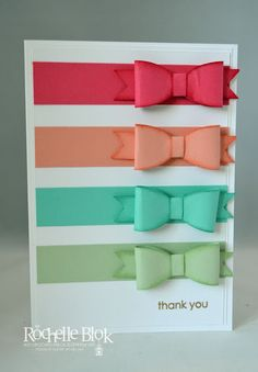 handmade card fromThe Stamping Blok: In Colour Bows ... bands of paper bows made with die cuts ... sponged edges tone on tone ... luv the colors ... Stampin' Up!