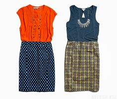 Navy polkas with a fun vibrant top?  YES!  Even the look on the right is pretty work killer!