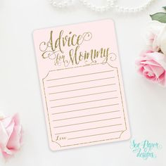 Printable Advice for The Mommy To Be Baby Shower Card: Blush Pink & Gold Glitter Baby Shower INSTANT DOWNLOAD