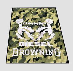 Cummins Camo Browning Deer Green logo Blanket