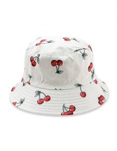 Fruit Pattern Bucket Hat Hat Type: Bucket Hats Group: Adult Gender: For Women Style: Casual Pattern Type: Plant Material: Cotton Season: Summer Weight: Package: 1 x Bucket Hat Look Com Bucket Hat, Cool Bucket Hats, Red Bucket Hat, Outfits With Hats, Cute Outfits, Bucket Hat Outfit, Tank Top Outfits, Fruit Pattern, Mini Vestidos