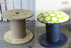 repurpose a spool for electrical wire by turning it into a stool perfect for nurseries and playrooms. The cushion top is created from fabric that has been stretched and stapled over foam-mattress-pad circles.
