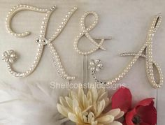 Pearl Cake Topper Monogram Wedding Cake Topper Swarovski Crystals Letter M Rustic Wedding any letter A to Z Monogram Cake Toppers, Rustic Cake Toppers, Wedding Cake Toppers, Wedding Cakes, Monogram Wedding, Monogram Initials, Pearl Cake, Crystal Cake, Pearl Paint