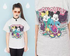 Vintage / Retro 1990's Honolulu Hawaii Tourist Colorful Disney Mickey Mouse & Minnie Mouse Shirt / Tee / Tshirt //FREE SHIPPING WORLDWIDE!