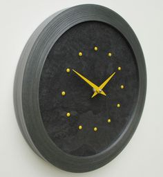 Black Slate Faced Wall Clock with Yellow Studs and Hands in a Pewter Coloured Frame
