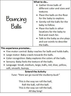 At play with baby: bouncing balls Daycare Lesson Plans, Infant Lesson Plans, Lesson Plans For Toddlers, Kids Daycare, Daycare Ideas, Teaching Babies, Baby Learning, Infant Curriculum, Emergent Curriculum