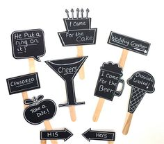 10 Chalkboard Photo Booth Props Speech Bubble Props Beer Mug Champagne Glass Chalk board Photobooth Props Set of 10 Wedding Decoration. $19.95, via Etsy.