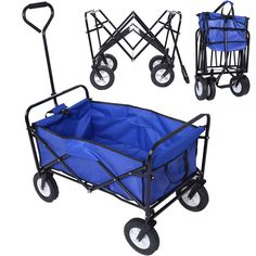 Collapsible Folding Wagon Cart Garden Buggy Shopping Beach Toy Sports Blue New