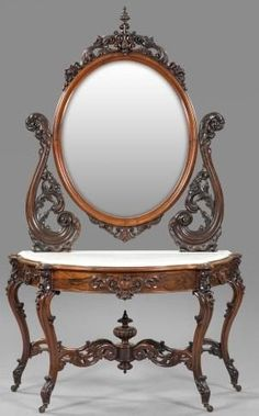 """Victorian Rococo Revival Rosewood And Marble Top Duchesse, Oval Mirror With Pierced And Floral-Carved Harp, The Base Retaining Its Original """"Dished"""" White Marble Top, Raised On Cabriole Legs With Floral-Carve Knees, Attributed To Alexander Roux - New York   c.1850-1875  -  Prices4Antiques"""