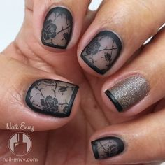 Black Rose Nails #cutemani #prettynails #nailart - bellashoot.com